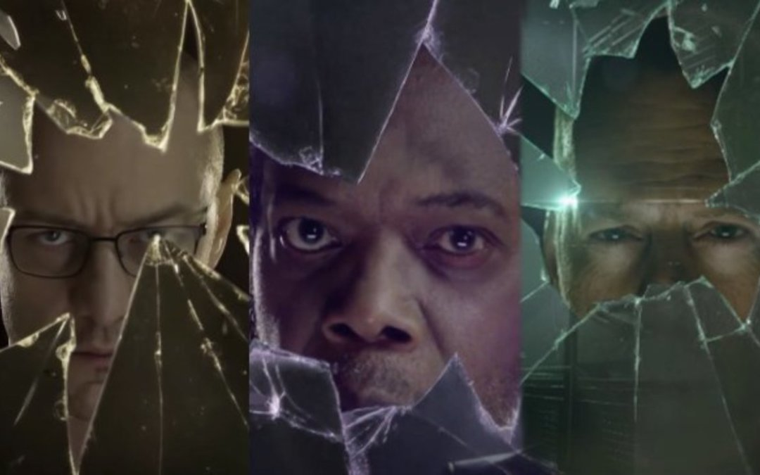 James McAvoy, Samuel L. Jackson, and Bruce Willis on the poster for 'Glass'