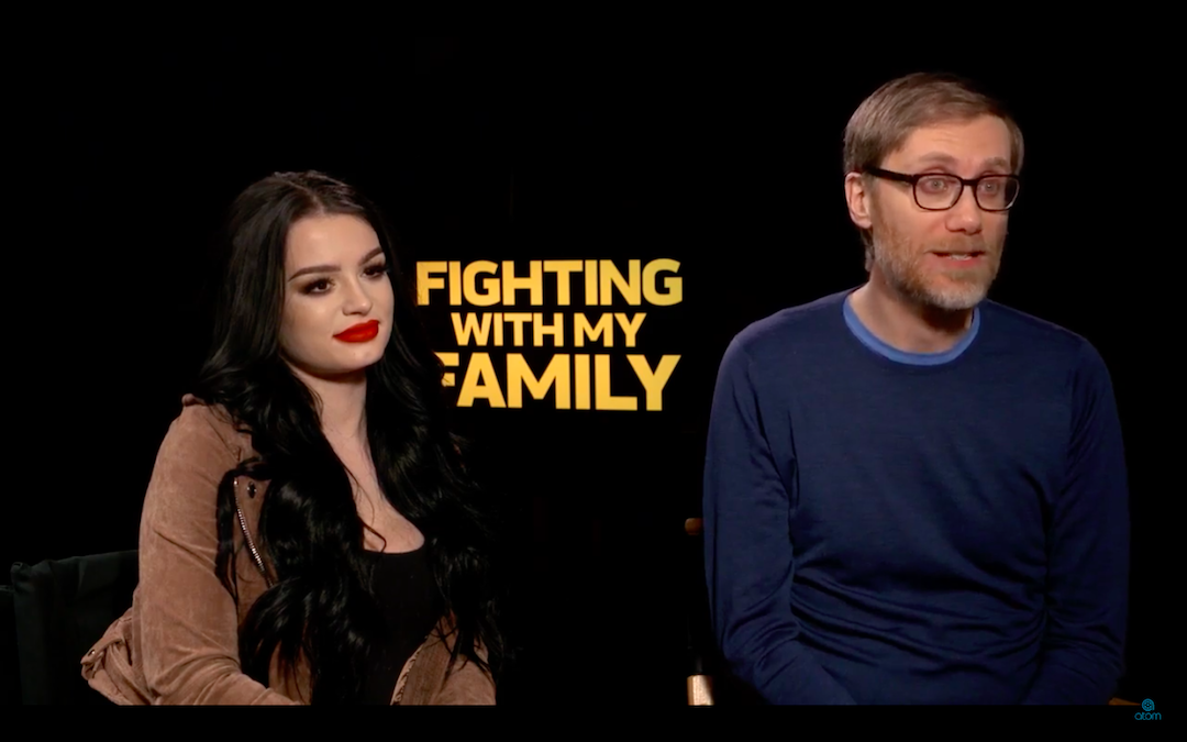WWE's Paige & Stephen Merchant sit down with Atom Tickets for a 'Fighting with My Family' interview